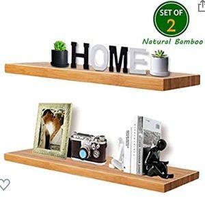 Natural Bamboo Floating Shelves